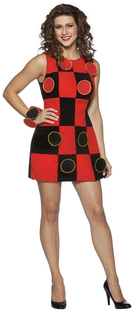 Funny and flirty adult costume with removable game pieces for playing