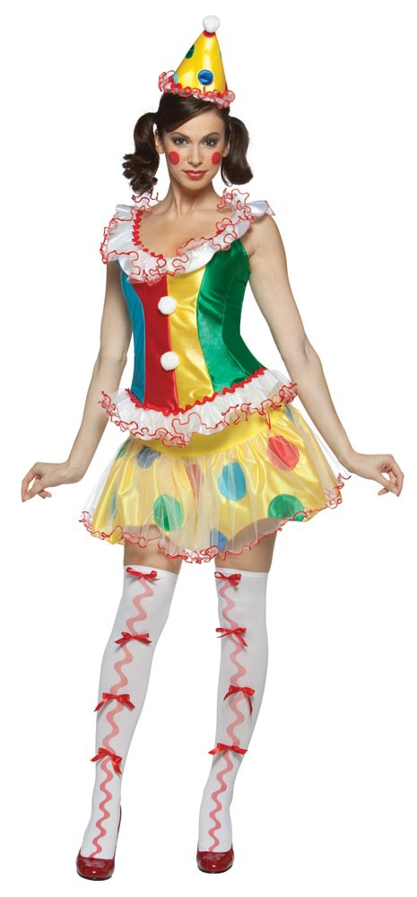Womens Sexy Ruffles the Party Clown Costume. Adult Clown Costumes