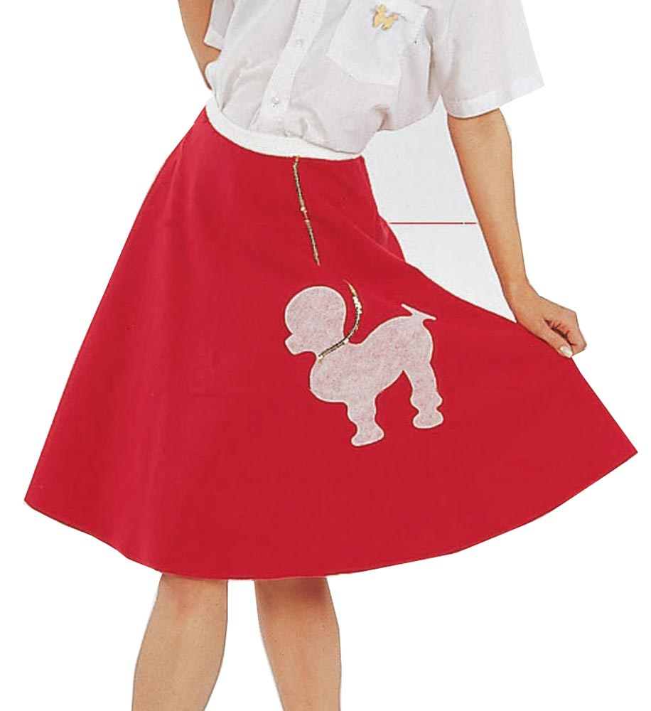 Womens Red Poodle Skirt Adult 50s Costume Poodle Skirt Costumes - Mr ...
