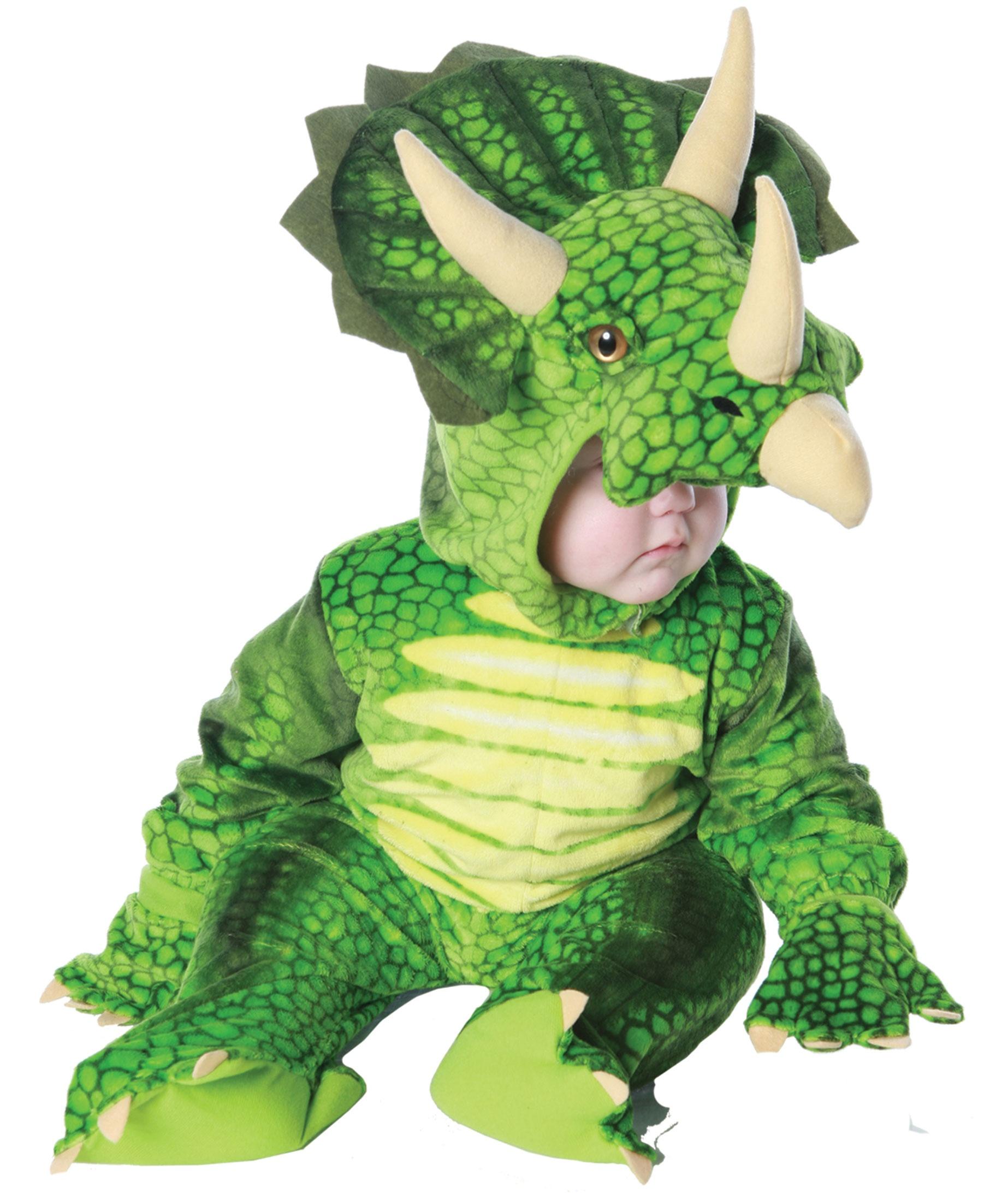 Boys Green Triceratops Dinosaur Kids Costume Costumes