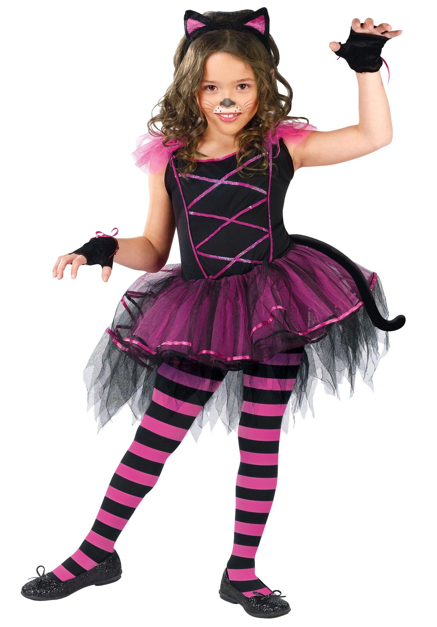 These DIY cat Halloween costumes for girls and boys are paws-itively adorable! The no-fuss look comes together with just a few pieces (cat ears, a cat tail, and cat makeup), making it a purr-fect last-minute costume for kids or adults.