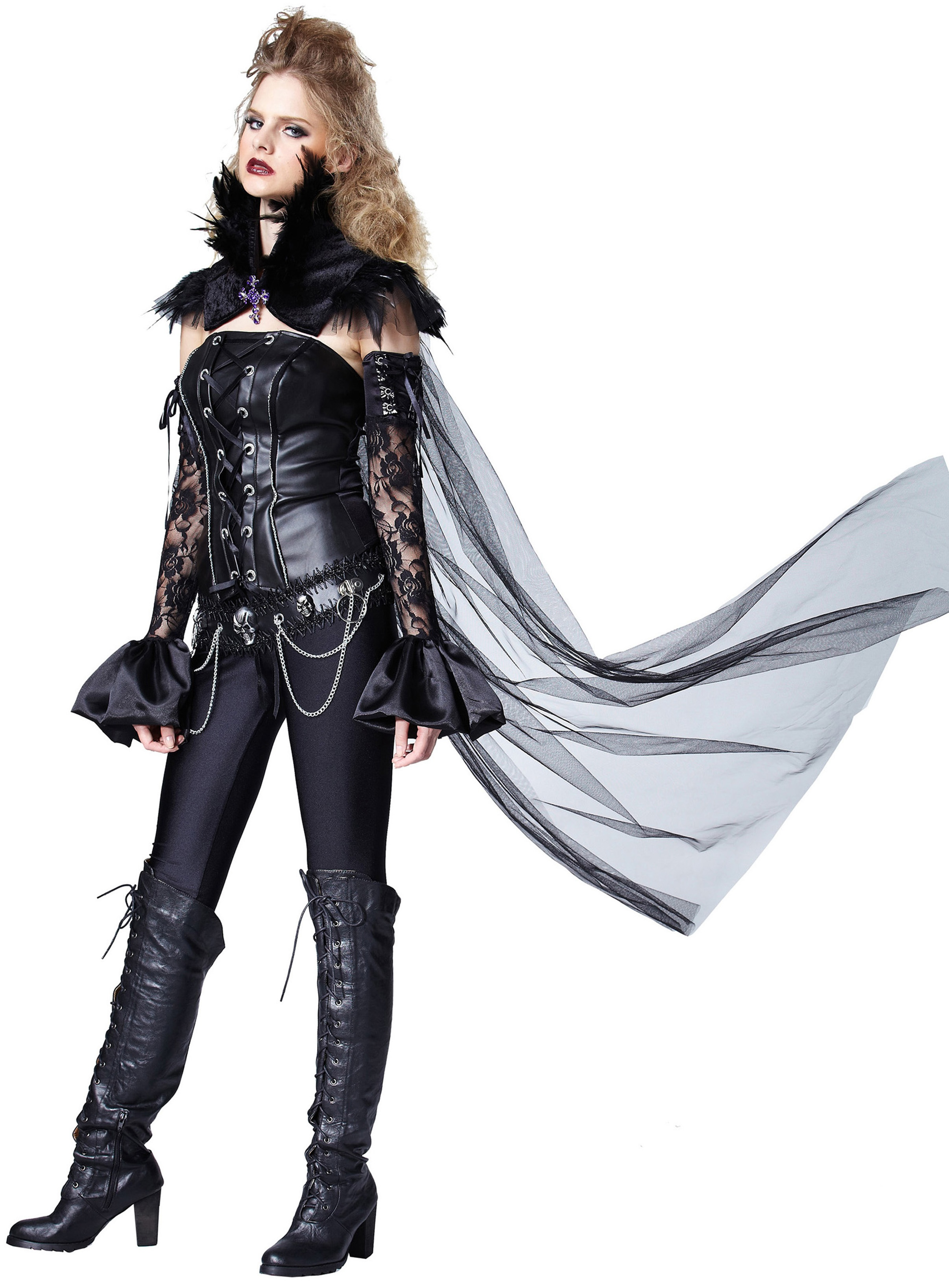 dark queen black feather cape