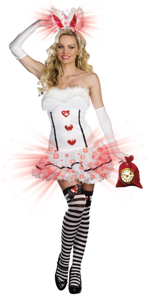 Sexy White Light Up Bunny Costume - Mr. Costumes
