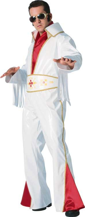 Elvis Costumes , Classic Elvis costume look with shiny white vinyl.