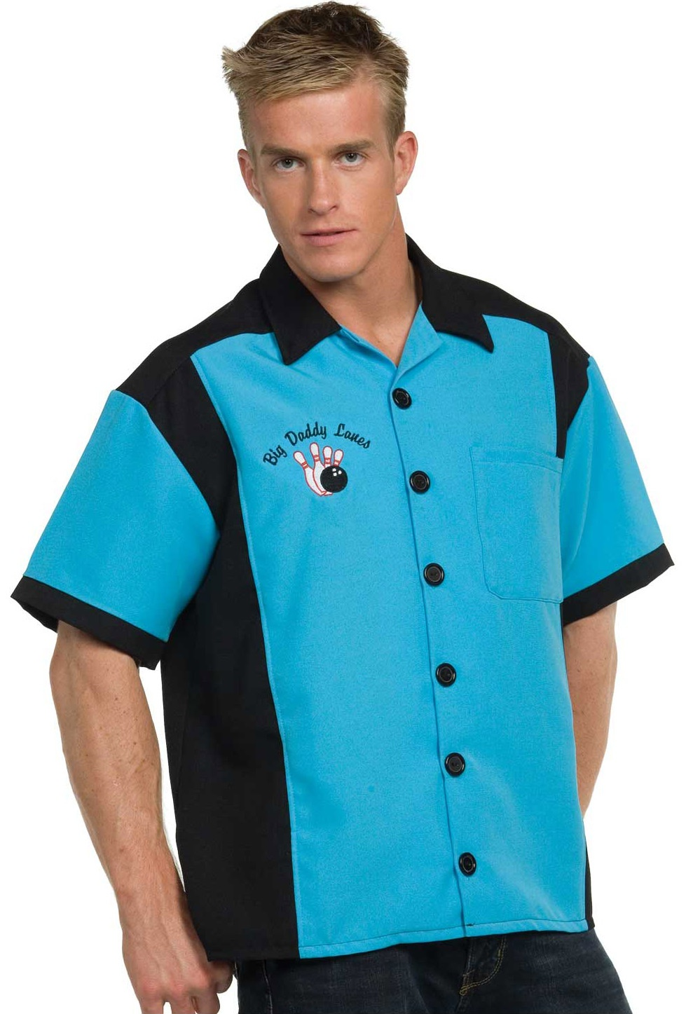 Home gt;gt; Sports Costumes gt;gt; Mens Turquoise Bowling 50s Adult Costume