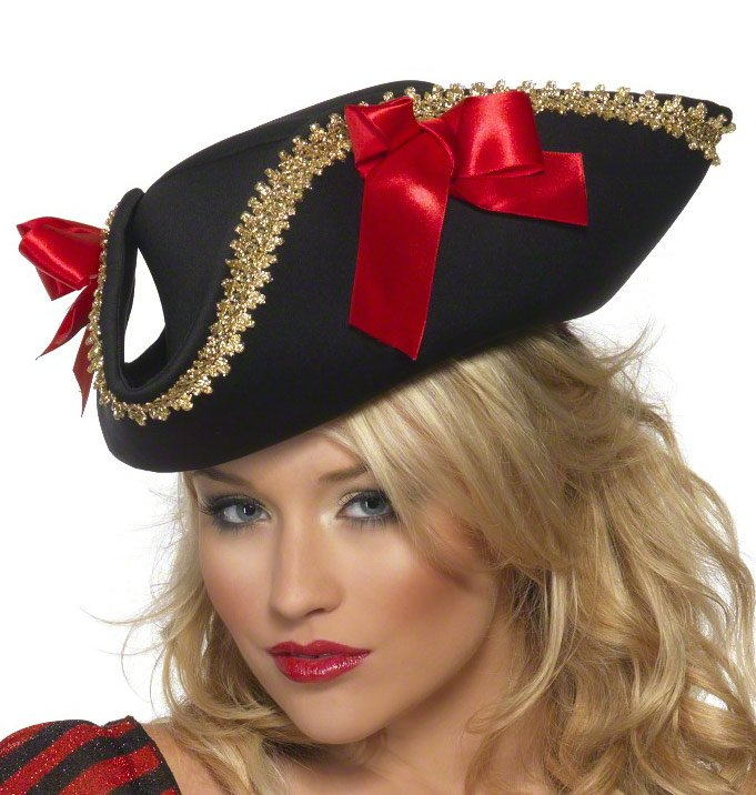 womens tricorn pirate hat with bows mr costumes