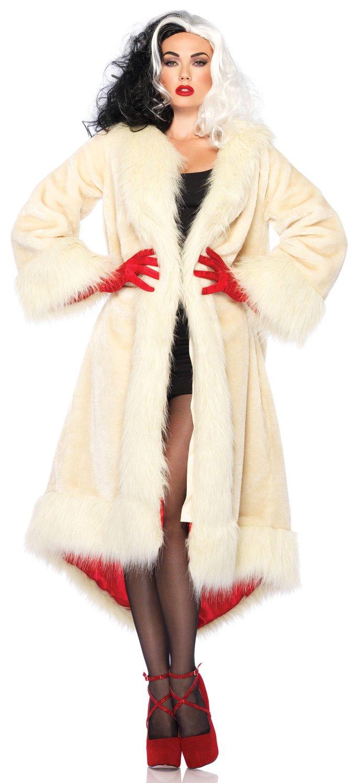 Cruella Deville Coat Villain Adult Costume Costumes