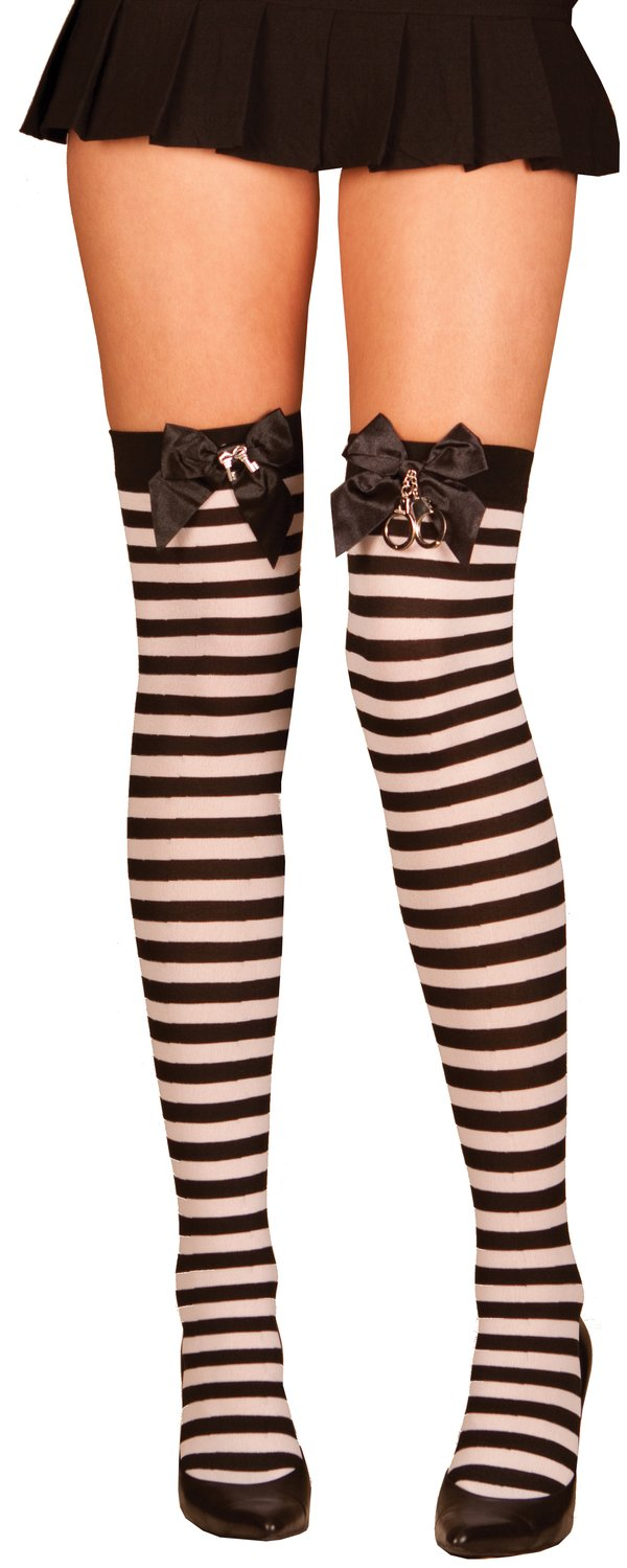 Black And White Striped Thigh High With Satin Bow And