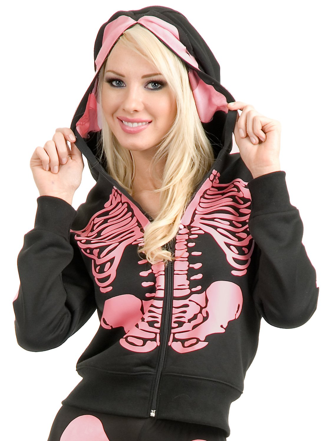 Jawbreaker Womens Black Ribcage Skeleton Heart Skull Mask Zip Hoodie