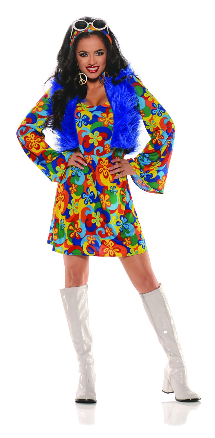 60's Groovy Flowered Go Go Adult Costume - Mr. Costumes